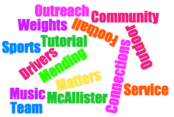 Assets program collage of terms: Sports,Tutorial ,Drivers, Weights, Outreach, Community, Mending, Service, Football